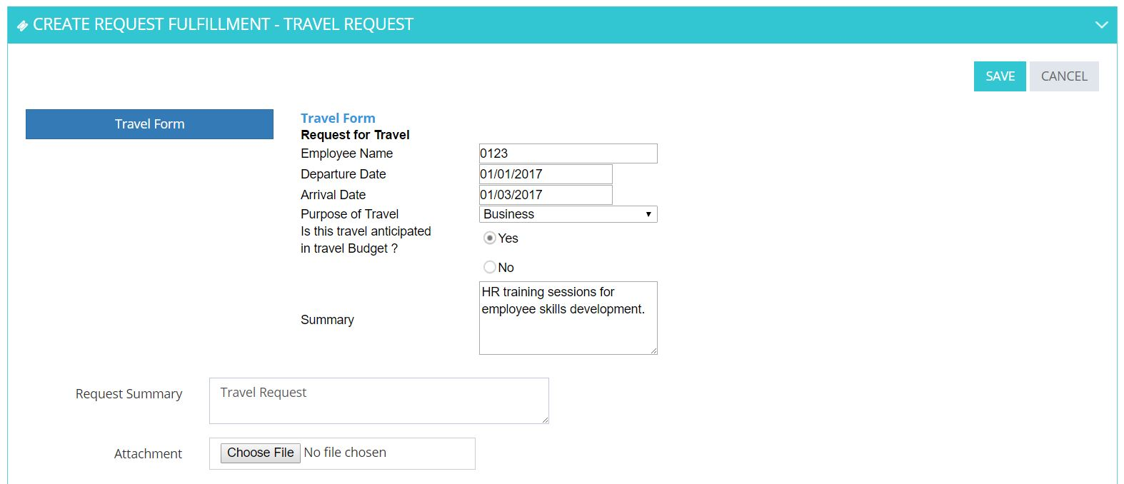 Supports creation of any HR Request